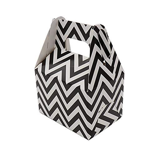 - XLPD BITFLY 12Pcs Paper Candy Box Stripe Polka Dot Chevron Gift Bag Chocolate Packaging Children Birthday Party Wedding Decor Favors Black Chevron