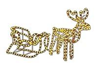 Rentier mit Schlitten beleuchtet Lichterkette Figur Weihnachtsbeleuchtung...