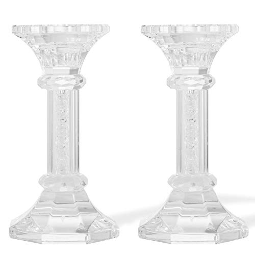 Matashi Premium Crystal Candlestick, Radiant Gems Inside Stem | Contemporary Elegance & Style | Gift for Thanksgiving, Christmas, New Year (Chic, Small) Pack of 2