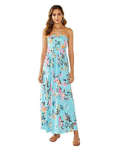 DLDY Women's Strapless Maxi Dress,Elastic High Waist Off Shoulder Summer Beach Dresses for Womens with Pockets