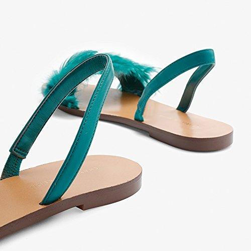 Verde uk4 Sandalias Amarillo Planas Color cn36 Estudiante Zapatos Playa Mullida Zhirong Manera De La Mujeres Del Verano Eu36 Pluma Tamaño Negro Las wRddBq1ac
