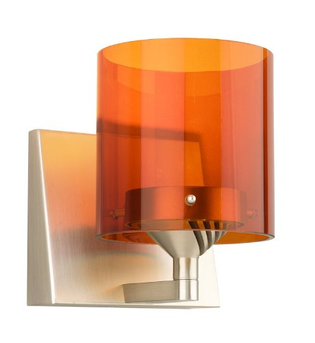 Yo-Yo One Light Wall Sconce with Amber Translucent Glass Shade in Satin Nickel