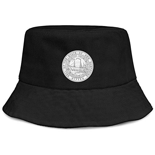 (NCJDSH West Virginia State Seal Coloring Pages Men's Durable UV Protection Golf Fishing Bucket Flat Brim Hats)
