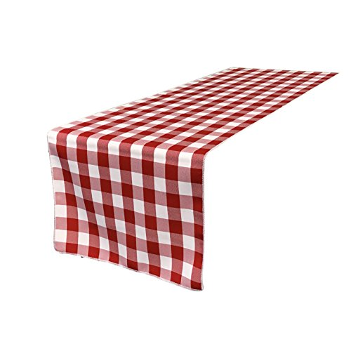 Italian Runner - LA Linen Poly Checkered Table Runner, 14 by 108-Inch, Red/White
