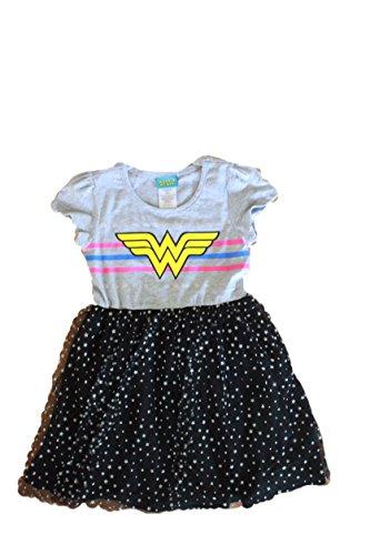 Girls Superhero Dress (Wonder Woman Costume for Girls, Superhero, Batgirl, Supergirl, Batman vs.Superman Dawn of Justice, Tutu (7/8))