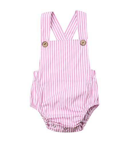 doublebabyjoy Newborn Baby 1 Piece Summer Romper Baby Girl Boy Solid Color Jumpsuit Sleeveless Backless Overalls Outfits (Pink Striped, 18-24 Months)