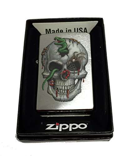 Zippo Custom Lighter - Skull with Snake, Worms and Spider - Regular Brush Finish Chrome Zippo Chrome Ring
