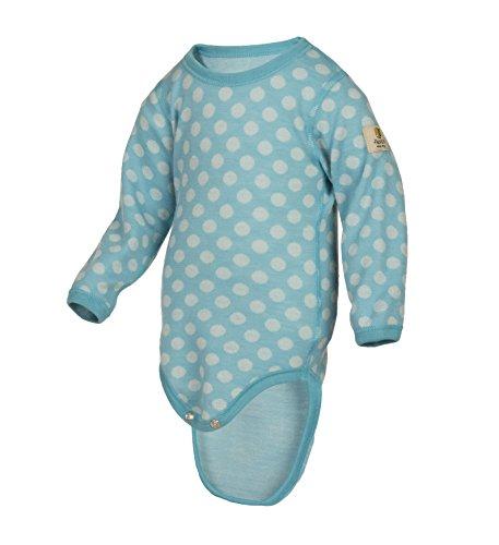 Merino Wool Suit - Janus Merino Wool Baby Bodysuit Polka Dot Long Sleeve Made In Norway (6-9 Months, Blue)