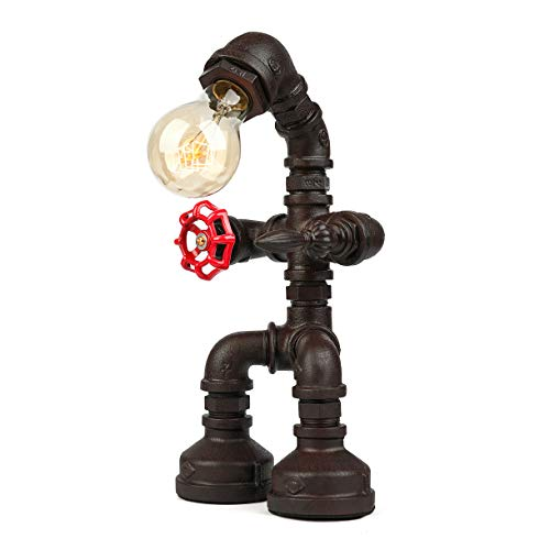 BAYCHEER Industrial Retro Style Rust Iron Robot Plumbing Pipe Desk Table Lamp Light with Red Valve Handle and Switch 1 Light (US Version) from BAYCHEER