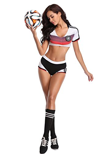 Cheerleader Outfit for Women - Sexy Soccer Player Cheerleader Costume Fancy Soccer Cosplay Uniform