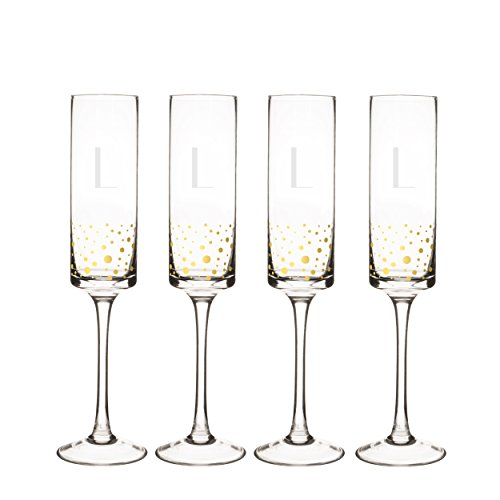 Cathy's Concepts GD3668-4-L Personalized Gold Dot Contemporary Champagne Flutes (Set of 4), Clear