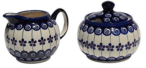 (Polish Pottery Sugar Bowl and Creamer From Zaklady Ceramiczne Boleslawiec #694/711-1085a Classic Pattern, Sugar Bowl: Height: 3.7