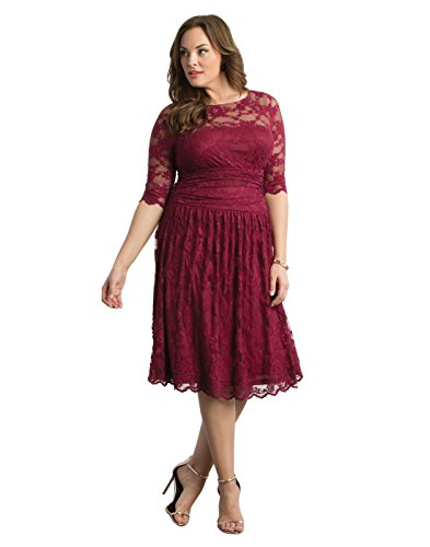 Kiyonna Women's Plus Size Luna Lace Cocktail Dress 3X Rose Wine by Kiyonna Clothing