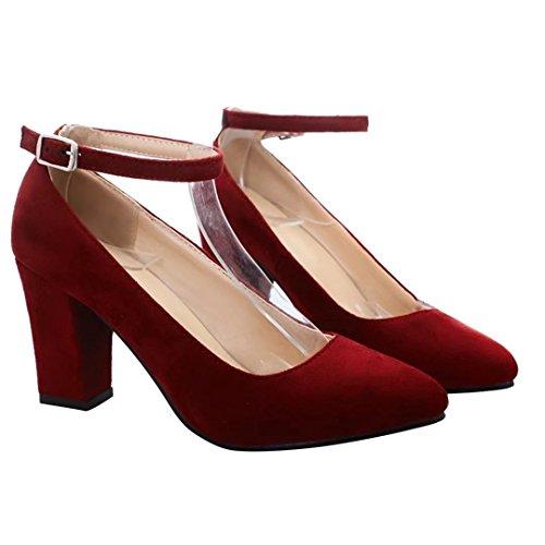 AIYOUMEI Damen Blockabsatz High Heels Pumps mit Knöchelriemchen Elegant High Shoes Rot