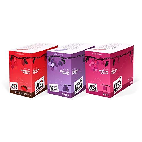 Life's Grape Raisins Vine-Dried Grapes | Dark Chocolate, Classic, Mini | Under 100 Calories | Snack Box | 3 Ct