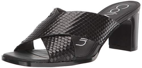 Print Calvin Sandals - Calvin Klein Women's Dylan Heeled Sandal, Black Snake Print, 9 M M US
