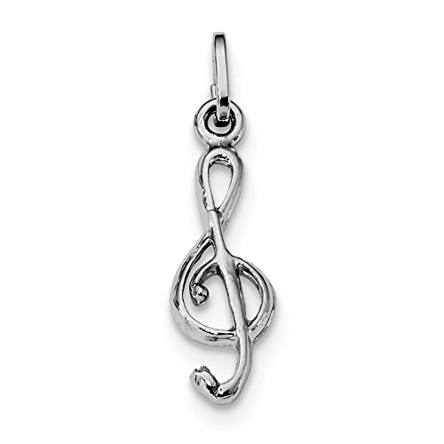 (925 Sterling Silver Rhodium-plated Polished Treble Clef Charm Pendant)