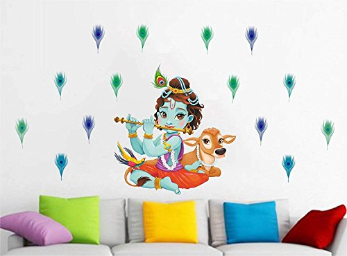 Friends Office Automation 'Lord Krishna Flute Singing with Cow and Peacock Petal Decorative' Wall...