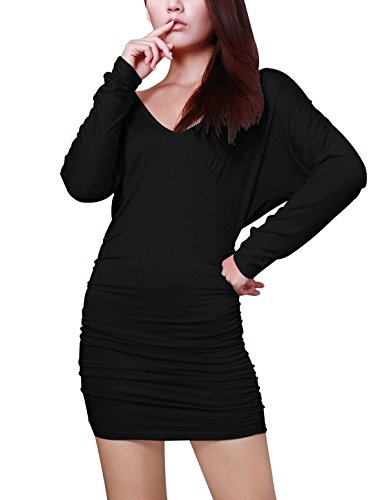 Deep K Clubwear Allegra V Women Fitted Back Mini Neck Black Open Dresses w4xfEOq