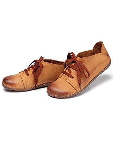 Zoulee Kvinna Rund Tå Nya Läder Snörning Platta Skor Stil 3 Brun