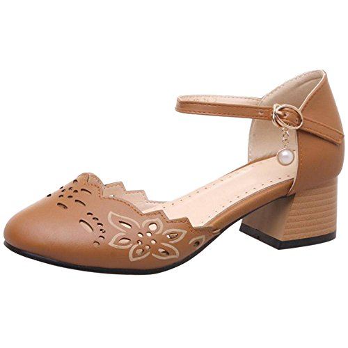COOLCEPT Women Buckle Strap Court Shoes Yellow 0HQ5o3