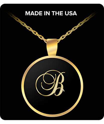 B Initial Necklace - Round Gold Plated Chain Pendant - Name - Plated Bentley Gold