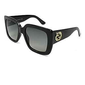 Gucci GG0141S 001 Black GG0141S Square Sunglasses Lens Category 2 Size 53mm