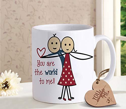 TIED RIBBONS Birthday Anniversary Romantic Gifts for Him Her Men Women Husband Wife Girlfriend Boyfriend Girls Coffee Mug with Wooden -