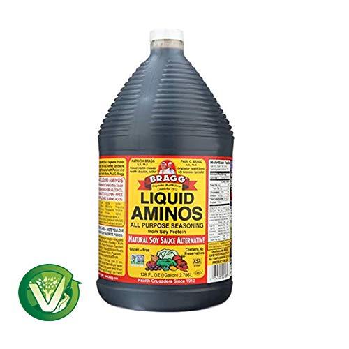 Bragg Organic Liquid Aminos 128 oz/ 1 gallon All Purpose Seasoning - Soy Sauce Alternative Non-GMO & Gluten Free - W/Measuring Spoon