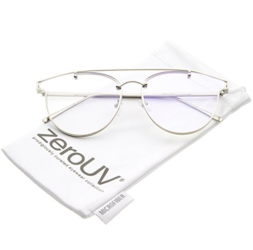 zeroUV - Modern Crossbar Horn Rimmed Clear Round Flat Lens Rimless Eyeglasses 58mm (Silver / - Rimmed Silver Eyeglasses