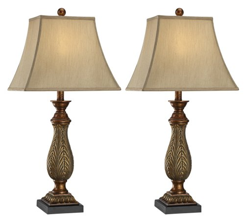 Acanthus Lamp (Two-Tone Gold Traditional Table Lamps Set of 2)