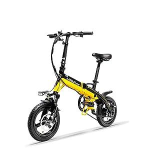41kZqZPbpeL. SS300 LANKELEISI A6 Bicicletta elettrica Pieghevole Portatile 14 Pollici, Bici elettrica 36V 350W, Forcella Anteriore…