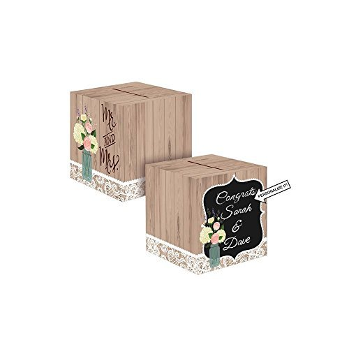 Creative Converting 088706 Card Holder Box, Rustic Wedding (2-Pack)