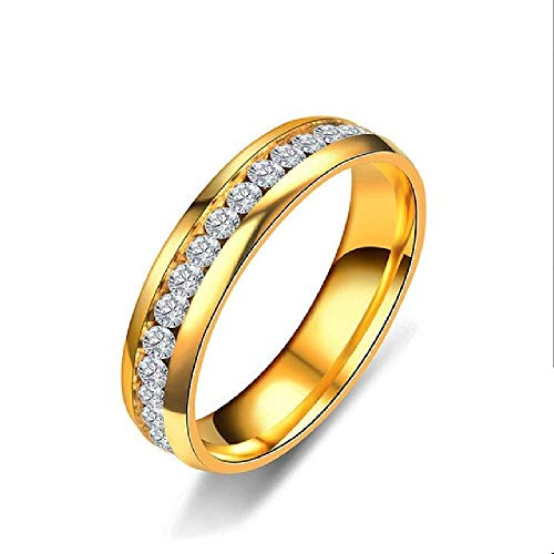 NCEGITA Fashion Single Row Rhinestone Stainless Steel Rings for Women Party Color Ring - Row Bracelet Coil
