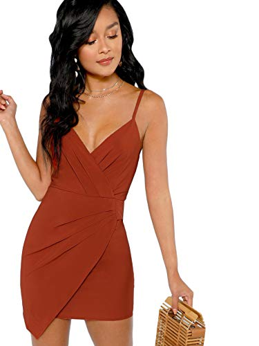 fc79c9df2519 Verdusa Women's Ruched Front Deep V Neck Sleeveless Bodycon Mini Dress