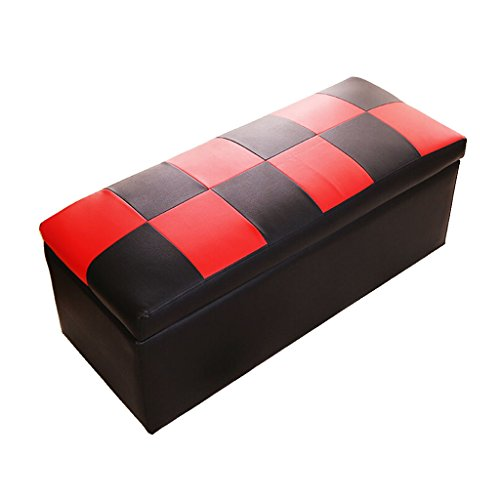 Price comparison product image WZ Ottomans Foot stool Ottoman Storage Chest Folding Toy Box Pouffe Lightweight Large Versatile Bench Faux Leather Three Colour (Color : Black)