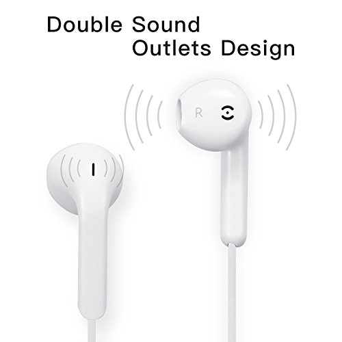 Premium Quality Earphones/Earbuds/Headphones with Stereo Mic and Remote Control Fully Compatible with iPhone iPad iPod Android Smartphones and Other Devices with 3.5mm Jack Plug(2 Pack White). by VOWSVOWS (Image #1)