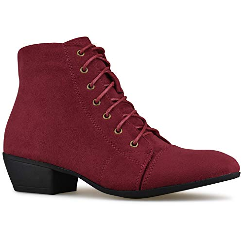 Premier Standard - Western Cowgirl Lace up Closed Toe Bootie - Low Heel Casual Comfortable Cowboy Walking Boot Burgundy Su F4*