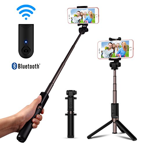 d86f18fc38b0c3 Bluetooth Selfie Stick Foldable Tripod – Luxsure Universal Extendable  Monopod with Remote Control, 360°