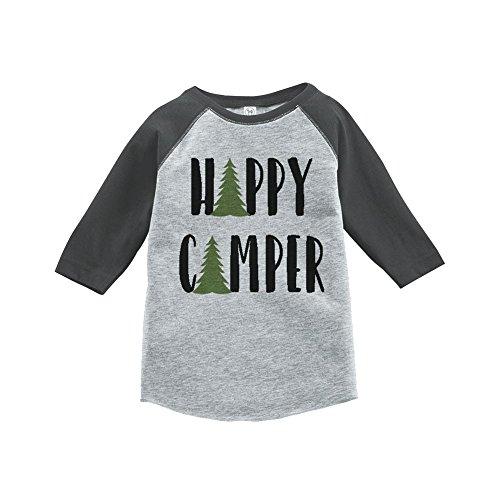 Custom Party Shop Unisex Happy Camper Outdoors Raglan Tee 2T Grey - Funny Custom Toddler Tee