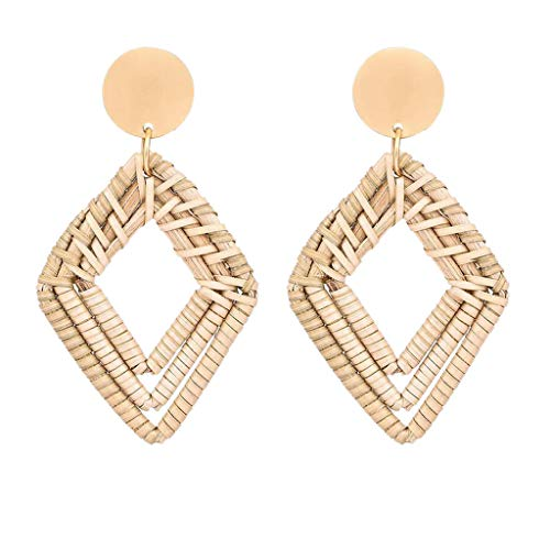 Redvive Top Rattan Earrings for Women Handmade Straw Wicker Braid Drop Dangle Earrings