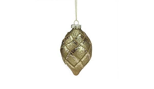A B Floral 5 Rich Elegance Gold Mercury Glass Glittered Teardrop Finial Christmas Ornament Home Kitchen