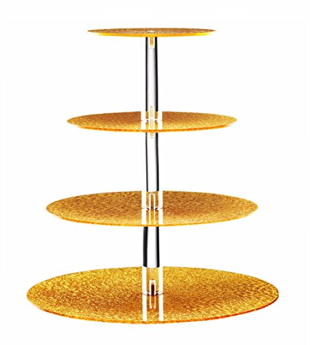 Acrylic Cupcake Stand 4 Tier Unique Golden Maypole Round Wedding Party Tree Tower with Stable Screw - On Pillars - Tiered cake Stand / Cupcake Tower for Wedding Party Gold Flat Cake Plate