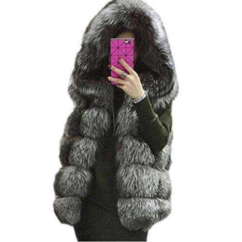 - Lisa Colly Women Winter Coat Faux Fur Coat Hooded Vest Stripe Long Vest S-4XI Size (2XL, Gray)
