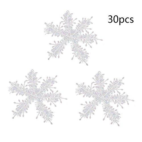 Gracefulvara 30Pcs White Snowflake Ornaments Christmas Holiday Party Home Decor