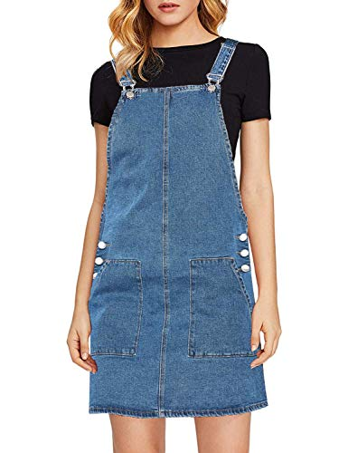 luvamia Women's Juniors Casual Straps Denim Overall Pinafore Dress with Pocket Blue Size X-Large (Fits US ()