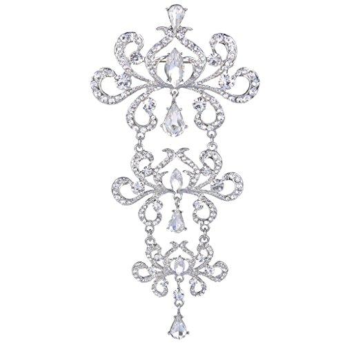 EVER FAITH Silver-Tone Crystal 5 Inch Art Deco 3 Lotus Flowers Bud Leaf Vine Tear Drop Bride Brooch Clear