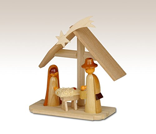 Miniatures Nativity scene on base, unpainted 9,5cm miniature Christmas figure ore mountains
