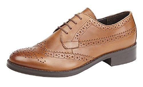 Tan Sizes Or 9 Ladies 3 Marrone Brogue Shoe Black Chiaro EvFUvnqw4