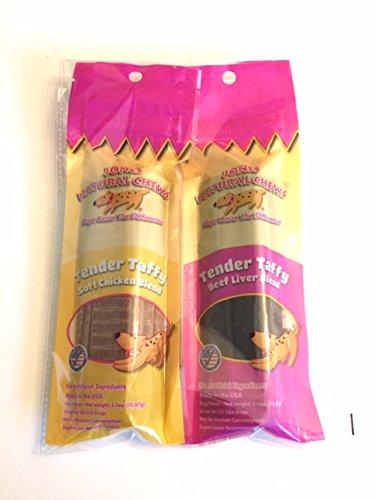Jones Natural Chews Chicken and Beef Tender Taffy (2 of 2.5 oz Packs) Variety Sample Snack Kit